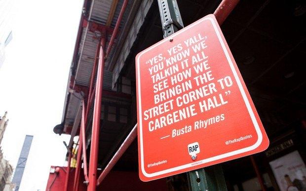 Нью-йоркский художник Джей Шеллс крепит к столбам таблички с рэп-цитатами. Изображение № 23.