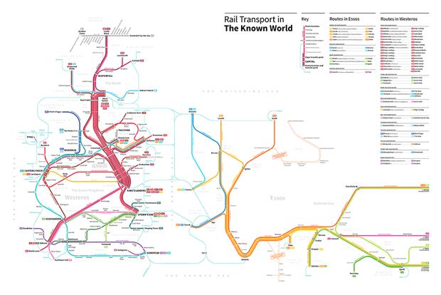 Американский дизайнер представил карту мира «Игры престолов» в виде схемы метро. Изображение № 5.