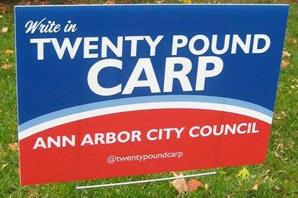 Карп из Мичигана решил баллотироваться в городской совет. Изображение № 1.