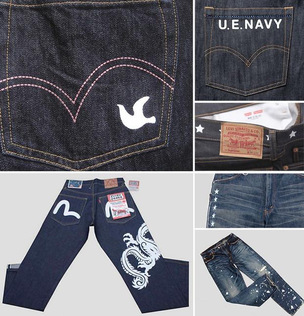 Кастет, краска и вышитые инициалы: Как кастомизировать любимую пару джинсов. Изображение № 1.