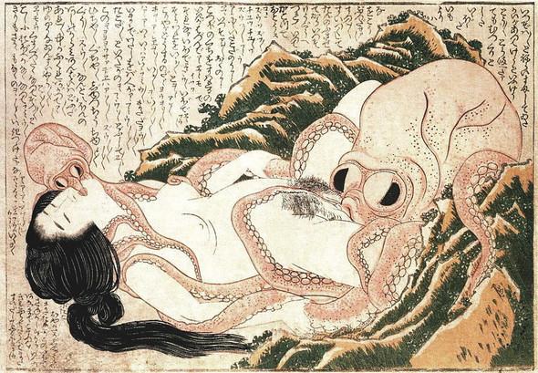 Хокусай «Осьминог и ныряльщица», 1814, гравюра по дереву . Изображение № 2.