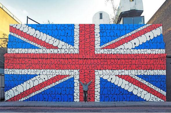 Граффити британского флага, составленное из текста песни Sex Pistols. Изображение № 1.