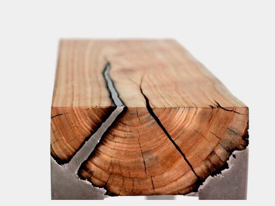 Дизайнер Хилла Шамиа сделала мебель из древесных стволов и расплавленного алюминия. Изображение № 3.