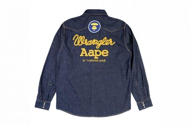 A Bathing Ape представила совместную коллекцию своей линейки Aape и джинсовой марки Wrangler . Изображение № 4.