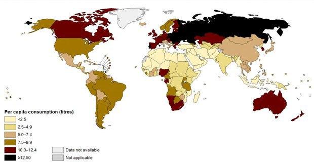 ВОЗ опубликовала рейтинг-карту самых пьющих стран в мире. Изображение № 1.