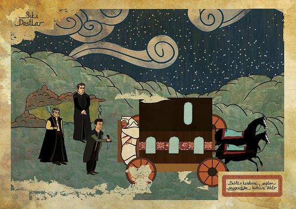 Турецкий художник изобразил кадры из известных фильмов в стиле миниатюр времен Османской империи. Изображение № 15.