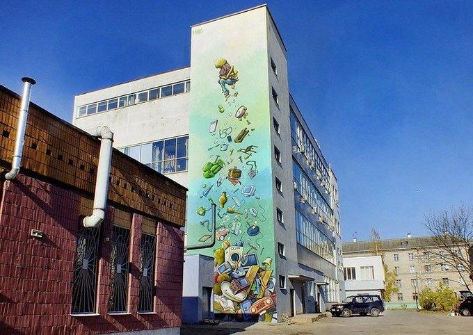 Граффити-художники Os Gemêos разрисуют городские стены Минска. Изображение № 8.