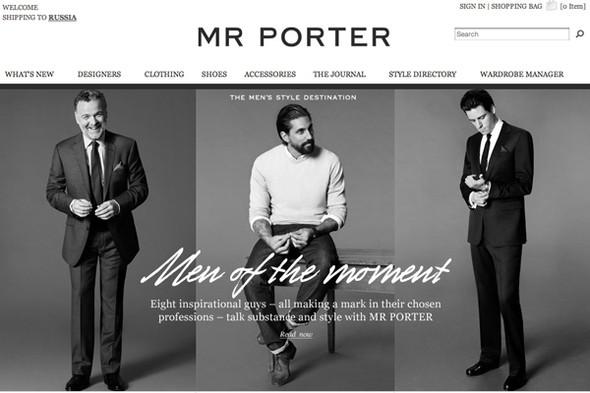 Так сейчас выглядит главная страница Mr Porter. Изображение № 1.