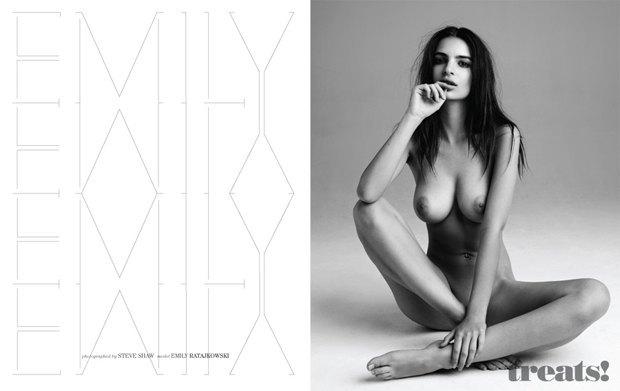 Модель Эмили Ратажковски снялась обнаженной для журнала Treats. Изображение № 1.