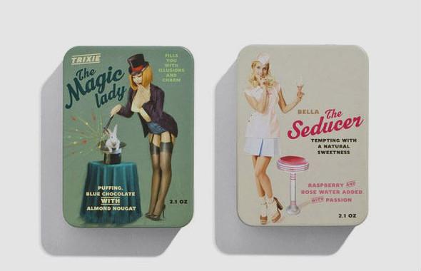 Коробки конфет с портретами девушек в стиле пин-ап. Изображение № 5.