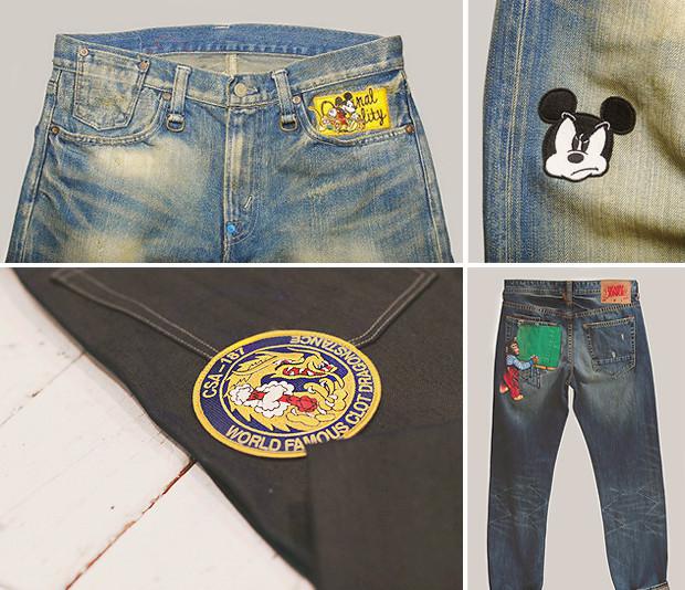 Кастет, краска и вышитые инициалы: Как кастомизировать любимую пару джинсов. Изображение № 6.