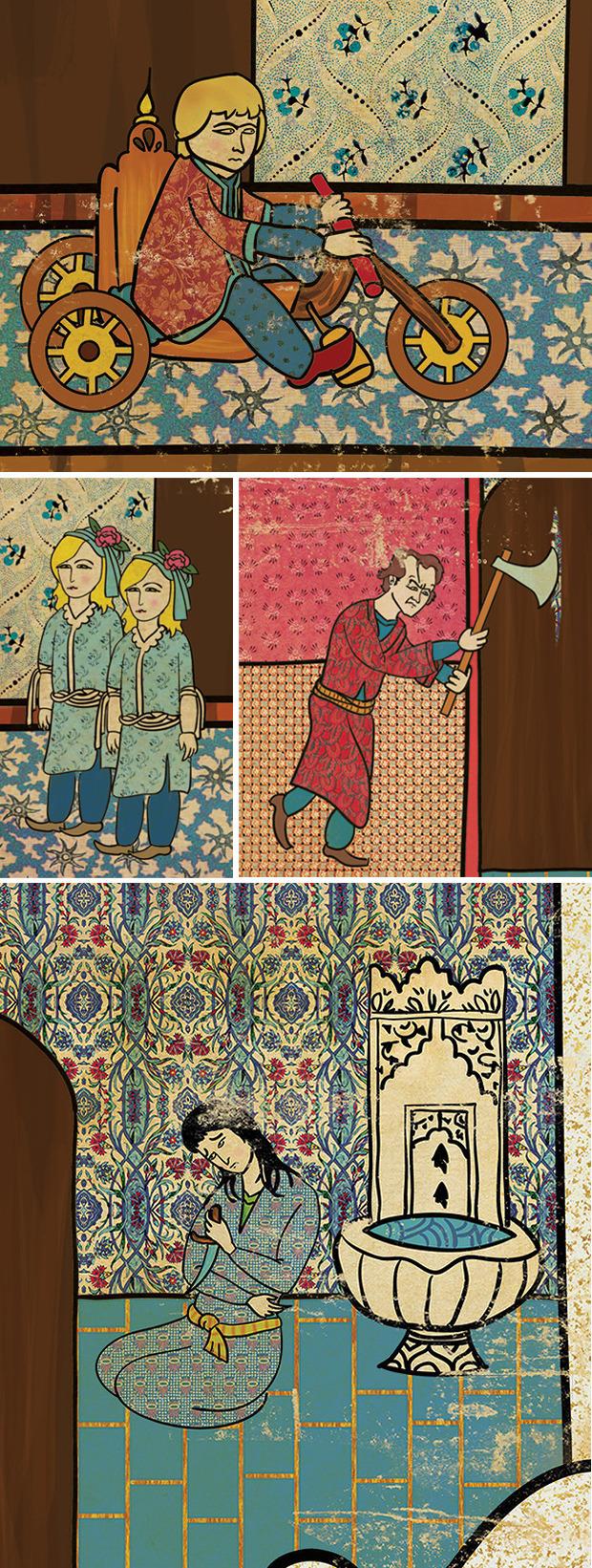 Турецкий художник изобразил кадры из известных фильмов в стиле миниатюр времен Османской империи. Изображение № 12.