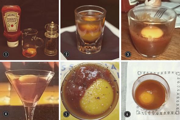1. Ингредиенты одного из рецептов похмельного коктейля Prairie Oyster 2–6. Различные рецептуры этого коктейля.. Изображение №3.