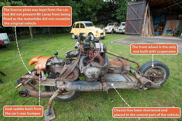 Француз выбрался из пустыни, превратив сломанную машину в мотоцикл. Изображение № 4.