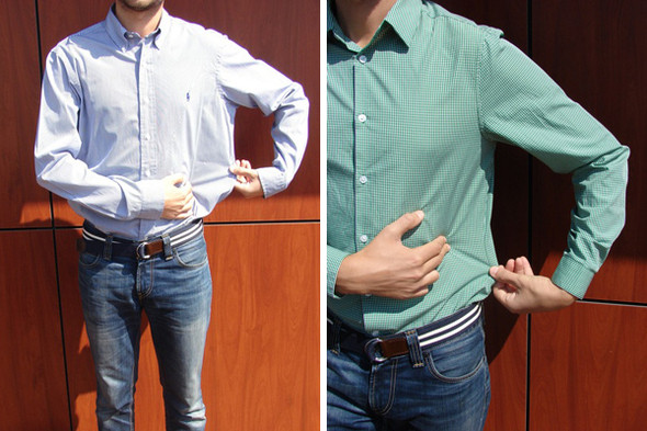 Рубашка не должна прилегать к торсу, но свободного пространства не должно быть слишком много. Изображение № 2.