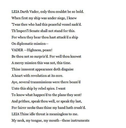 Американский писатель переделал сценарии «Звёздных войн» на манер Шекспира. Изображение № 5.
