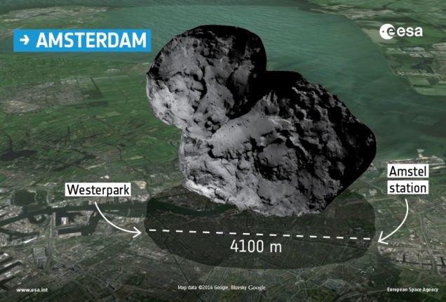 Физики сравнили размеры кометы 67P с космическими кораблями. Изображение № 10.