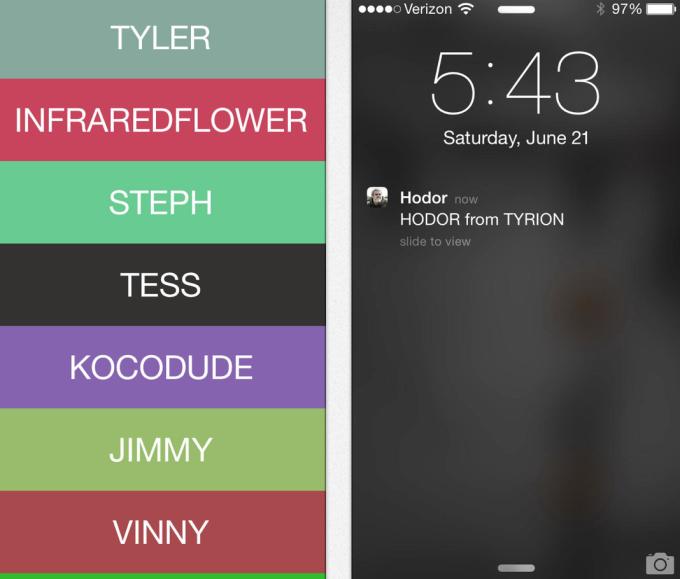 Клон приложения «Yo!» позволяет отправить друзьям звук «Ходор» . Изображение № 1.