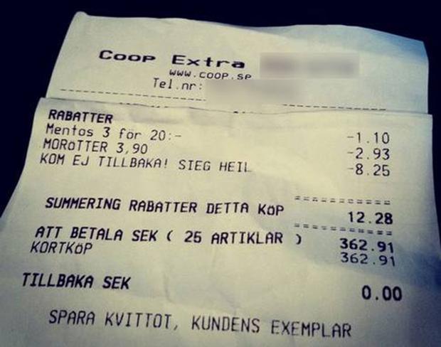 В шведском магазине на товарных чеках печатали нацистский лозунг. Изображение № 1.