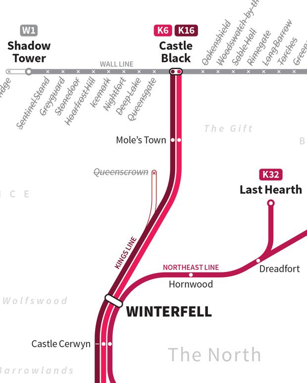 Американский дизайнер представил карту мира «Игры престолов» в виде схемы метро. Изображение № 3.