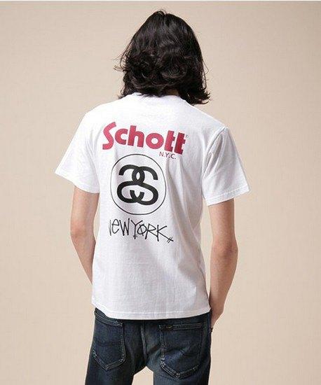 Марки Stussy и Schott выпустили совместную коллекцию футболок. Изображение № 4.