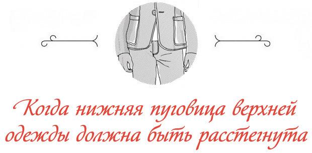 В каком случае нижнюю пуговицу верхней одежды стоит оставить расстегнутой. Изображение № 1.