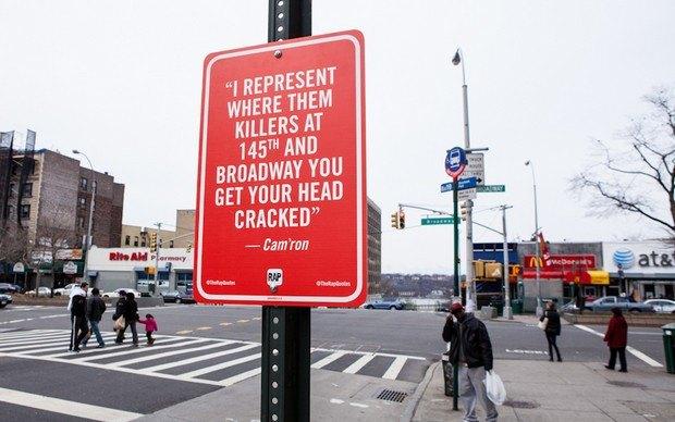 Нью-йоркский художник Джей Шеллс крепит к столбам таблички с рэп-цитатами. Изображение № 28.