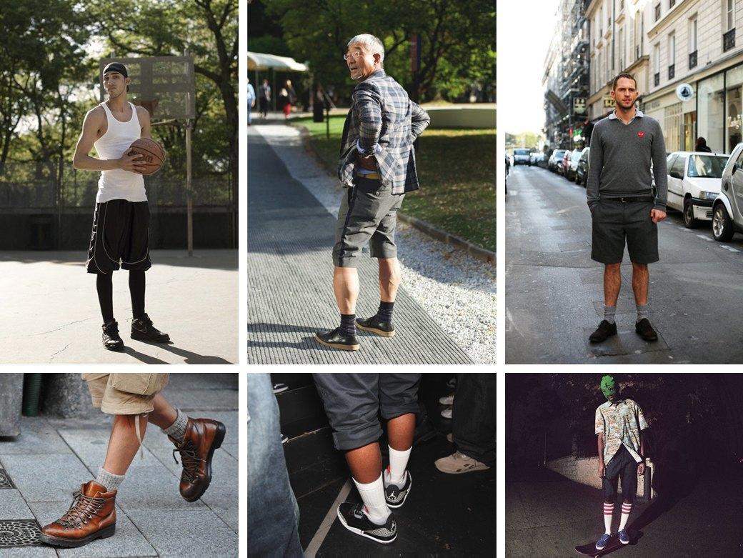 Какие носки надевать летом: Схема выбора длины и правила сочетания с шортами. Изображение № 3.