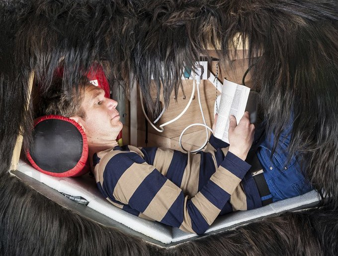 Художник из Франции прожил две недели в чучеле медведя. Изображение № 3.