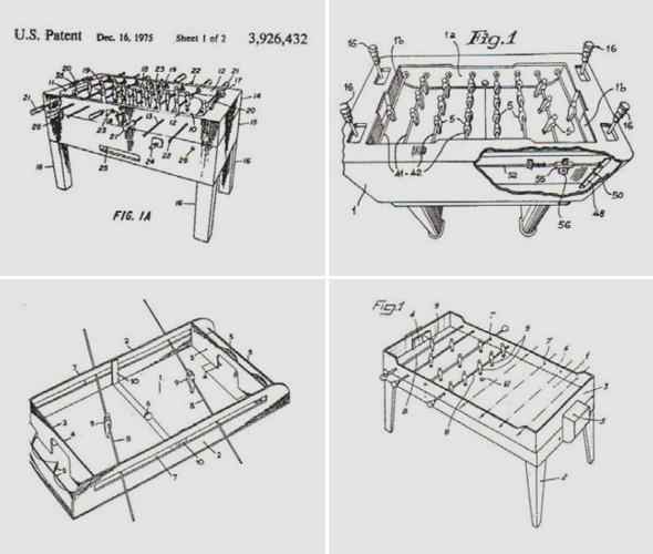 Справа вверху патент на стол американской компании Tornado — одного из ведущих производителей столов для кикера сегодня. Изображение № 2.