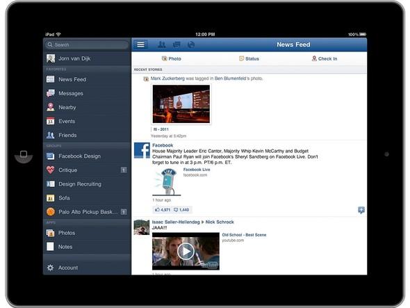 Так выглядит страница Facebook. Левую навигационную панель можно спрятать. Изображение № 2.