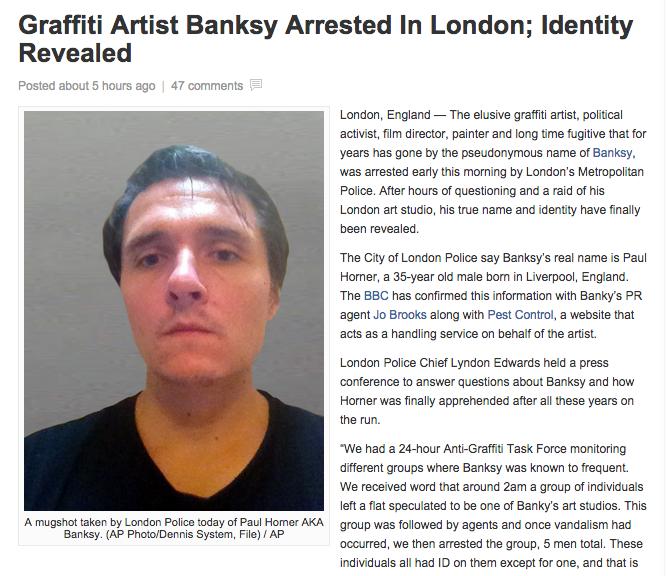В интернете появилась утка об аресте Бэнкси. Изображение № 1.