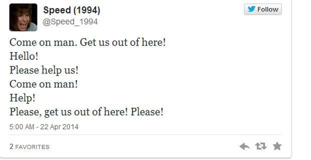 В Twitter появился аккаунт с диалогами из фильма «Скорость». Изображение № 1.
