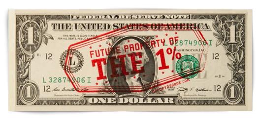 На первом варианте долларовой купюры изображена надпись «Будущая собственность одного процента». Изображение № 31.