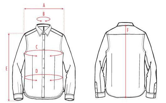 Параметры рубашки: A — ширина плеч, B — ширина ворота, C — ширина обхвата груди,  D — ширина обхвата талии, E — длина рукава, F — ширина спины. Изображение № 12.
