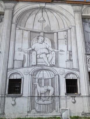 Уличный художник Blu превратил стену заброшенного кинотеатра в античный фасад. Изображение № 8.