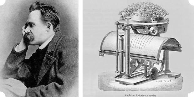 Побудительным мотивом для Ницше для приобретения пишущей машинки становится его ухудшающееся зрение. Справа — разработанный специально для слепых «письменный шар», один из которых и использовал Ницше. Изображение № 6.