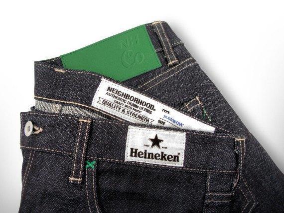 Японский бренд Neighborhood и пивоварня Heineken сшили совместную модель джинсов. Изображение № 7.