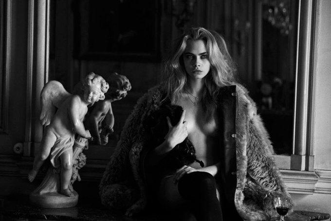 Английская модель Кара Делевинь снялась для журнала Interview. Изображение № 9.