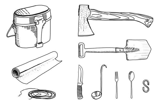 Армейский котелок, приборы, S-образный крюк, фольга, проволока, лопата, топор, нож. Изображение №1.