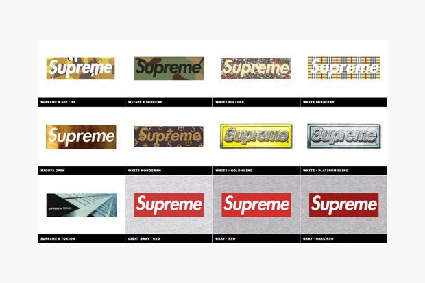 Магазин Kopbox собрал в архив все разновидности логотипа марки Supreme. Изображение № 2.
