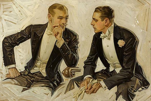 Долгое время запонки были доступны только элите и поэтому  сочетались исключительно с нарядными костюмами для вечерних мероприятий. Иллюстрация Джозефа Лейнденера. Изображение № 8.
