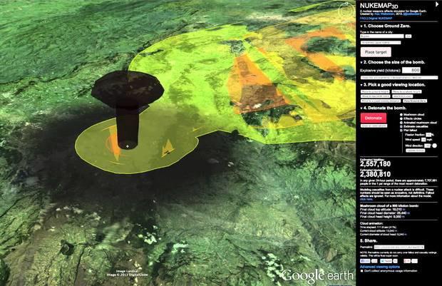 Американец создал симулятор взрыва атомной бомбы на картах Google Earth. Изображение № 1.
