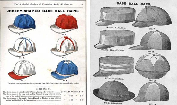 Прейскуранты и каталоги первых бейсбольных кепок. На правой иллюстрации видны все разновидности бейсболок до того, как они пришли к единому стандарту. Изображение №9.