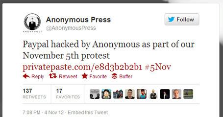 Хакеры из Anonymous отметили Ночь Гая Фокса новой кибератакой. Изображение № 1.