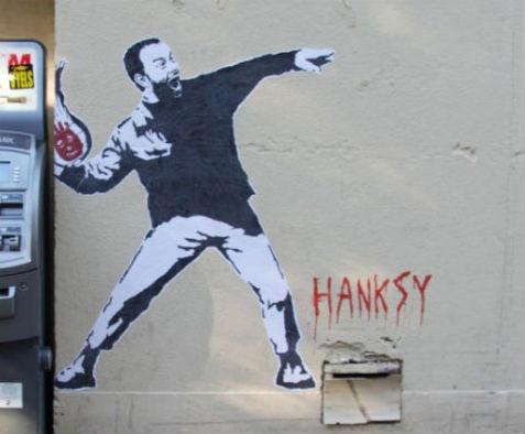 Работы ироничного двойника Бэнкси — художника Хэнкси. Изображение № 4.