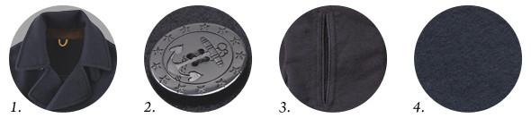 1. Широкие лацканы и воротник. 2. Пуговицы с якорем. 3. Прорезные карманы. 4. Темно-синий цвет, плотная шерсть мелтон. Изображение №1.