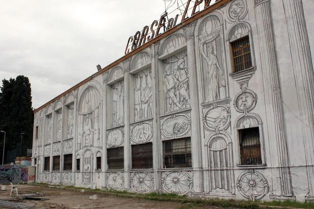 Уличный художник Blu превратил стену заброшенного кинотеатра в античный фасад. Изображение № 6.