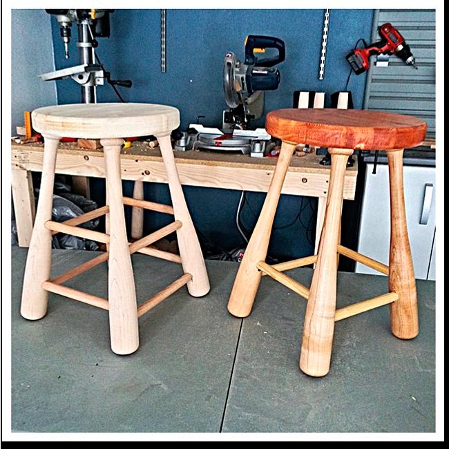 Ручная работа: Барный стул The Baseball Bat Stool Company. Изображение № 1.