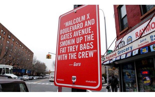 Нью-йоркский художник Джей Шеллс крепит к столбам таблички с рэп-цитатами. Изображение № 6.